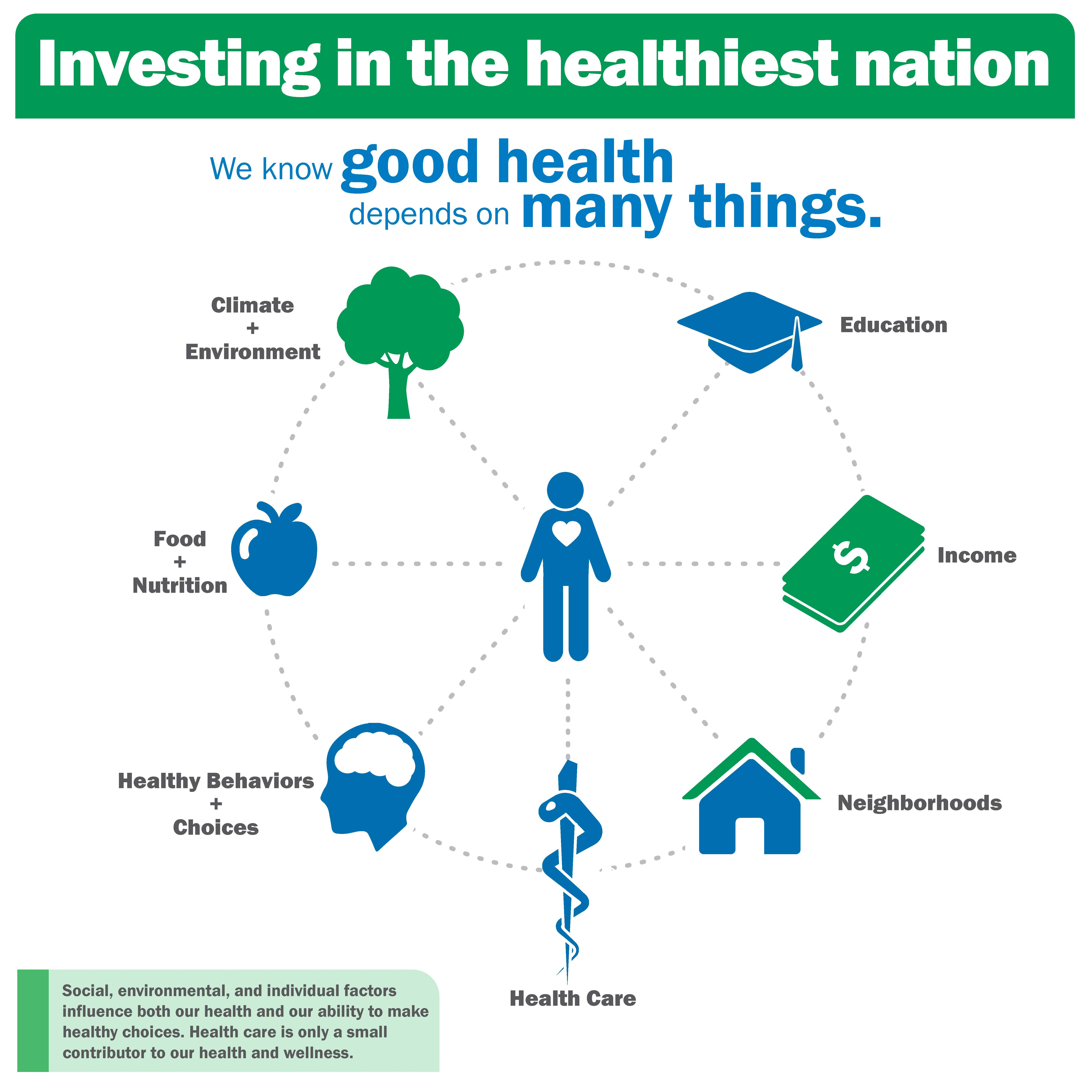 Investing in the healthiest nation public health infographic